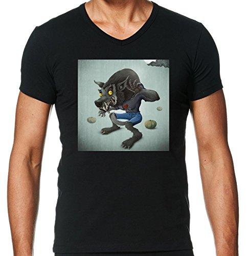 camiseta-negro-con-v-cuello-para-los-hombres-tamano-m-hombre-lobo-by-giordanoaita
