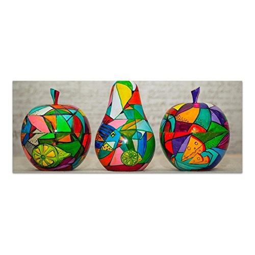 DekoGlas Glasbild \'Bunte Holzfrüchte\' Echtglas Bild Küche, Wandbild Flur Bilder Wohnzimmer Wanddeko, einteilig 125x50 cm