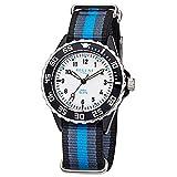 Regent Kinder Jugend-Armbanduhr Fashion Analog Textil-Armband blau grau schwarz Quarz-Uhr Ziffernblatt weiß URBA383
