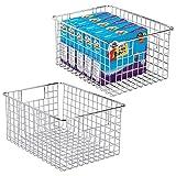 mDesign boîte en métal polyvalente (lot de 2) – grand panier de rangement en fil métallique pour la cuisine, le garde-manger, etc. – panier en métal compact multi-usage avec poignées – argenté