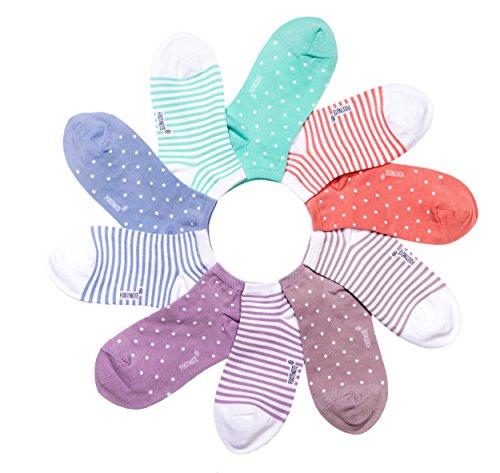 Adidas-schwarz Gestreiften Socken (Sneaker Socken von FOOTNOTE, 10 Paar, Damen/Herren, in bunt/pastell, Größe: 39-42)
