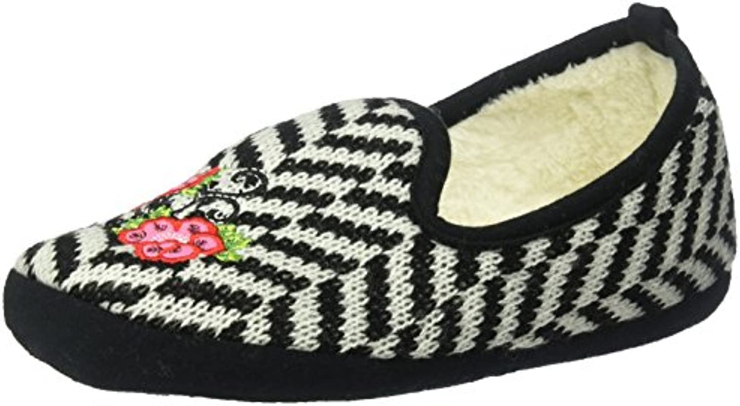 K-Bell Slippers-Rose Embroidery Black - Small/Medium