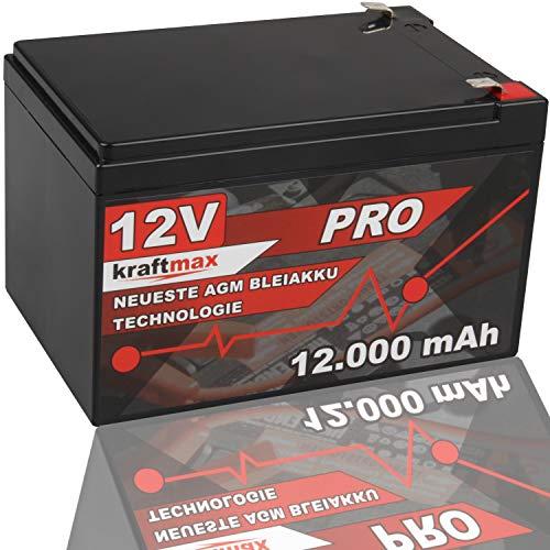 kraftmax Industrial Pro Bleiakku [ 12V / 12Ah ] AGM Hochleistungs- Blei Akku der Neusten Generation