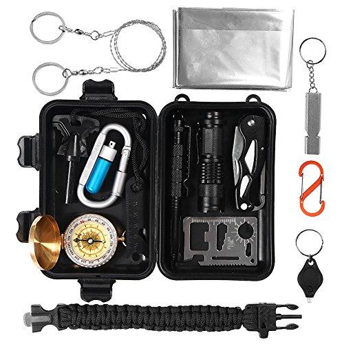 Survival Kit 15 in 1, Außen Notfall Selbsthilfe NotÜBerlebens Zubehör Camping Wandern Jagd Fahrzeug Werkzeuge Box Set mit Klappmesser, Feuerstarter, Tactical Pen, Wasserdichte Survival Kit Box