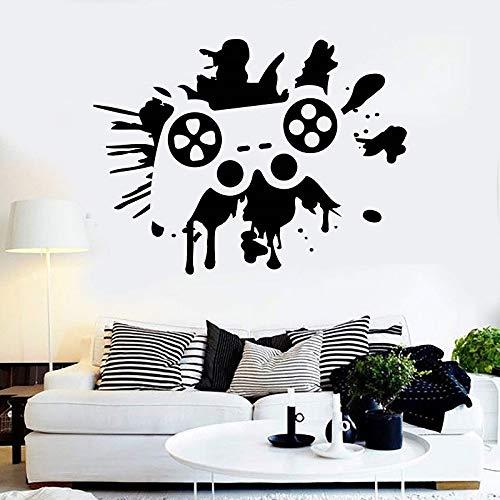 JXFM Vinyl Wandtattoo Gamepad Joystick Videospiel Jugendzimmer Aufkleber Wohnzimmer Spielzimmer Jugendmode Wandtattoo 77x57 cm