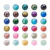 PandaHall 200pcs de Cada Bolsa Estilo Mezclado y Redondas de Color Cuentas de Vidrio pintadas con Spray Mixtos,12 mm, Agujero: 1.5 mm