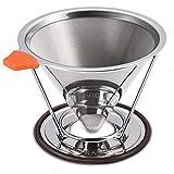 E-PRANCE Filtre Permanent à Café Filtre à Café Réutilisable goutteur de café cône Sans papier en 18/8 (304) acier inoxydable de double maille Versez sur cafetière avec Support amovible pour 1-4 tasses