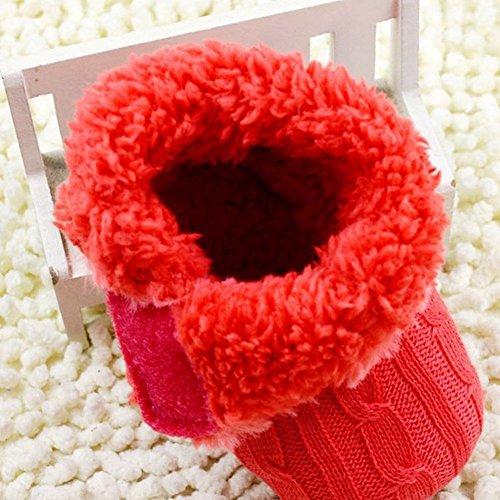 Unisex Baby Mädchen Jungen Fleece Booties Weich Scooties Winter Knit Schneeschuhe Krippe Schuhe 0-18 Monate Rot