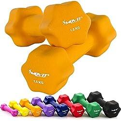 MOVIT® 2er Set Neoprenhanteln, Kurzhanteln Neopren, 8 Gewichts- und Farbvarianten