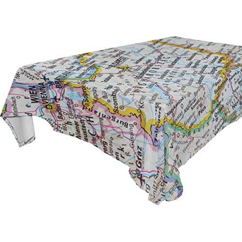 FANTAZIO Fantasio Tischdecke mit Ungarn-Karte, rechteckig, aus waschbarem Polyester, ideal für Buffettisch, Partys, Urlaubsessen, Polyester, 1, 60x90(in)