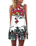 Minetom Damen Sommer Vintage Boho Ärmelloses Sommerstrand Gedruckt Kurzes Minikleid Mädchen Lose Weste Dress T-Shirt Tops Kleider Ballon DE 36
