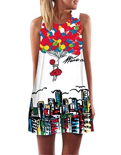 Vintage Boho Ärmelloses Sommerstrand Gedruckt Kurzes Minikleid Mädchen Lose Weste Dress T-Shirt Tops Kleider Ballon DE 36 (Einzigartige Ballons)