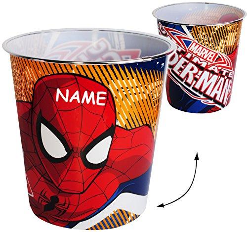 Papierkorb / Behälter -  ultimative Spider-Man  - incl. Name - 8 Liter - aus Kunststoff - Spielzeugkorb / Popcornschüssel / Mülleimer Eimer - auch als Blume.. - Popcorn Beschichtete