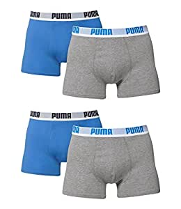 PUMA Herren BASIC Boxer Boxershort Unterhose 4er Pack grau/blau/grau/blau 417 - S