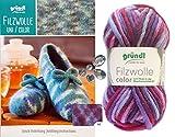 3x50 Gramm Gründl Filzwolle Color Wolle SB-Pack Wollset inkl. Anleitung für Gestreifte Filzhausschuhe mit 2 Strasssteine Zum aufnähen (40 Lila Hellblau Mix)
