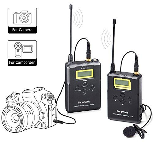 Wireless Lavalier Microhpne Saramonic UwMic15 UHF 16 Kanal Revers Mic System mit Taschensender und tragbaren Empfänger, Clip auf Mikrofon für DSLR Kamera Camcorder Audio Recorder Interview ENG EFP DV