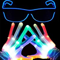 Anzmtosn Children LED Finger Light Gloves Light Up Flashing Skeleton Gloves Boys Toys & Kids Adutls Gifts Light Show Xmas Christmas Party Supplies Accessories Favors -Extra Free Led Glasses More Fun
