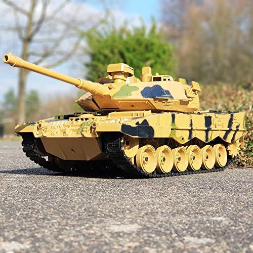 RAYLINE RC Ferngesteuerter Kampf Panzer Leopard 2 Militär Tank, Munition Schuss & Licht & Sound Funktionen