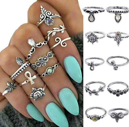 Damen Knuckle Ring Set Boho Frauen Midi Ringe Schmuck Punk Style (10pcs) - Für Knuckle Ringe Silber Oben