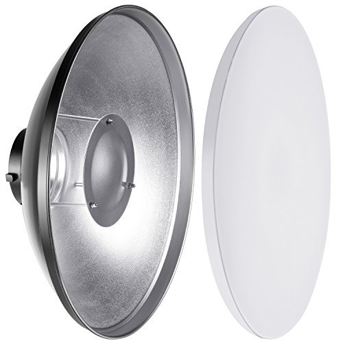 Neewer 41cm Aluminium Standard Reflektor mit Weiß Diffusor Socke für Beauty Dish Bowens Mount Studio Strobe Flash Light