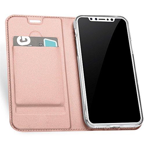 iPhone X Luxury Custodia Liscia Tocco Ultra Slim Flip Custodia Pelle Portafoglio Case con Flip Case Stand Funzione Cover con Carta Slots Chiusura Magneica a Libro Case per Telefono (Grigio scuro,) Oro rosa