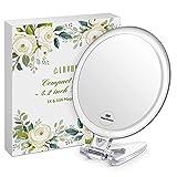 Lavany Makeup Taschenspiegel Handspiegel Kosmetikspiegel 4,2 inch Doppelseitiger Schminkspiegel Reisespiegel mit 1X/10X Vergrößerung für Den Hand-, Stand- Oder Wand-Einsatz, M (Ohne LED)