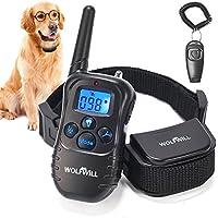 WOLFWILL Collar de Adiestramiento para Perros, Impermeable y Recargable 330 Metros con Tonos de Alerta y Modo de Vibración con Pantalla LCD retroiluminada (Libre de Silbato de Perro)