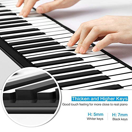 SEXTT Roll Up Piano Faltbare 88 Tasten Silikon Tragbares Klavier Digitales Musikinstrument Elektronische Soft Keyboard Klavier mit Batterie USB Dual Power