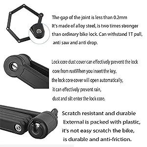 Tonyon - Candado plegable para bicicleta antirrobo, color negro - 188 mm x 54 mm