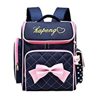 Adanina Cute Print Bowknot Backpack Elementary Middle School Bag Waterproof Bookbag with Little Cuty Doll for Kids Girls