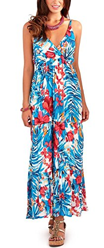 Pistachio Womens Strappy Plunge V Neck Floral Or Tropical Print Long Summer Maxi Dress