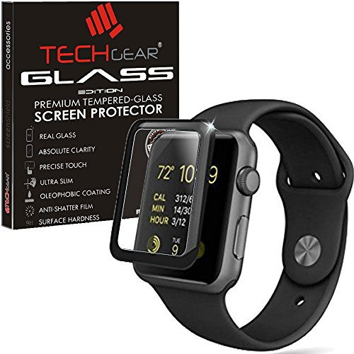 TECHGEAR® Verre Trempé pour Watch 42mm, [Version 3D] Protecteur d'Écran en Verre Trempé avec Adhésif et Protection Plein Écran Compatible pour Apple Watch 42mm, Watch Sport, [Séries 3, 2, 1]