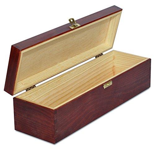 Creative Deco Rote Wein-Kiste aus Natürliches Kiefern-Holz | Wein-Box für 1 Flasche mit Deckel und Verschluss | 35,1 x 11 x 10 cm | Perfekt für Lagerung, Dekoration oder als Geschenk-Holzkiste