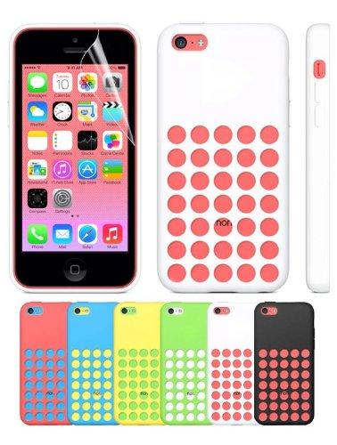 Apple Iphone 5C Handyhülle inklusive Schutzfolie fürs Display TPU Polka Dots Farbe hellblau weiß