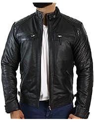 Veste cuir véritable souple noir homme style biker rétro look décontracté
