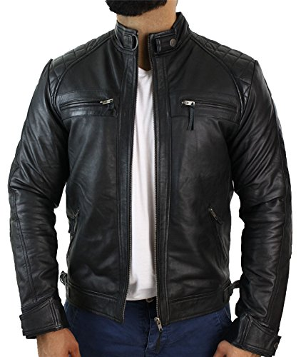 Chaqueta para hombre de cuero suave 100 % auténtico de estilo motero retro negro XL