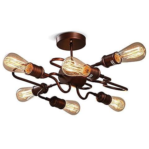 Retro industriel Eclairage de plafond Lustres Luminaires Intérieur Fer Fabriqué en E26 avec 6 lumières