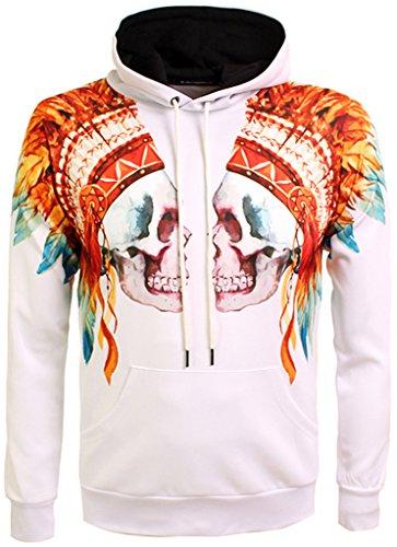 Pizoff Unisex Hip Hop Sweatshirts druck Kapuzenpullover mit bunt Farbspritzer Indian Chief Cacique Schädel skull Digital (College Fee Kostüm)