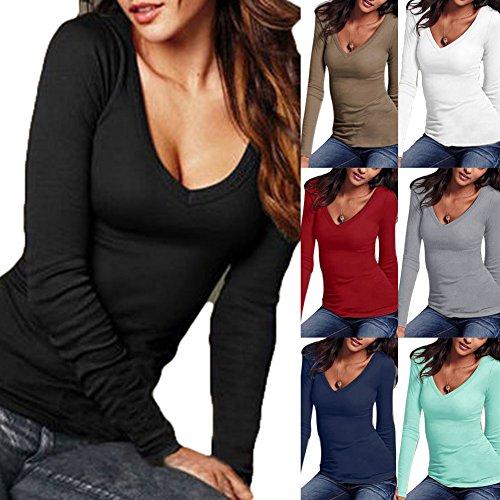 Hibote Femme Maillot à manches longues Chemises en coton Tshirt Slim Fit Top Femmes Sexy V Neck Chemisier Skinny Pull Sweat Soft Confortable 7 Couleurs S-XXXL Vert
