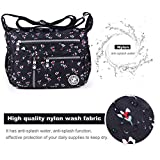 ABLE anti-splash water Shoulder Bag Casual Handbag Messenger bag Crossbody Bags Multi-functional pocket design: can plug flat, book, wallet, etc (4-black-floral (customized))