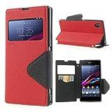 NessKa® Hülle Für Sony Xperia XA   Hülle in Rot   Handyhülle mit Kartenfach Sicht-Fenster Ständer Magnetverschluss Schutzhüll