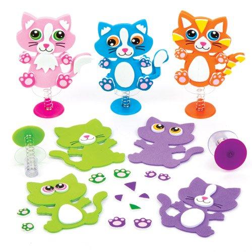 Bastelsets Katze mit Hüpffunktion für Kinder zum Gestalten, Basteln und Dekorieren - Kreatives Bastelset für Kinder (6 Stück)