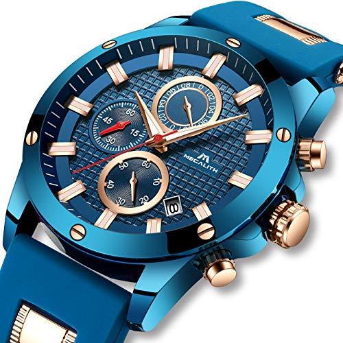Montres Bleu pour Hommes Hommes Chronographe Militaire...