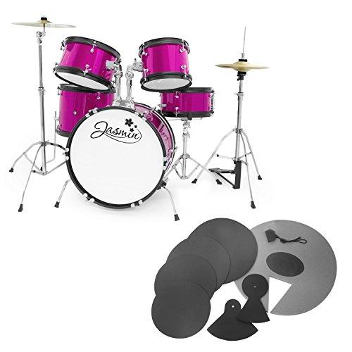 jasmin-junior-5-piece-pink-drum-kit-with-silencer-pads-drum-set-pack-with-5-piece-drum-kit-drum-stoo