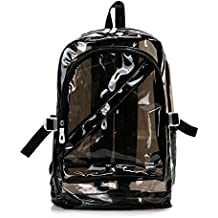 Yygift® cerniera trasparente zaino Outdoor Travel Clear Jelly Crystal spalla zaino, Black