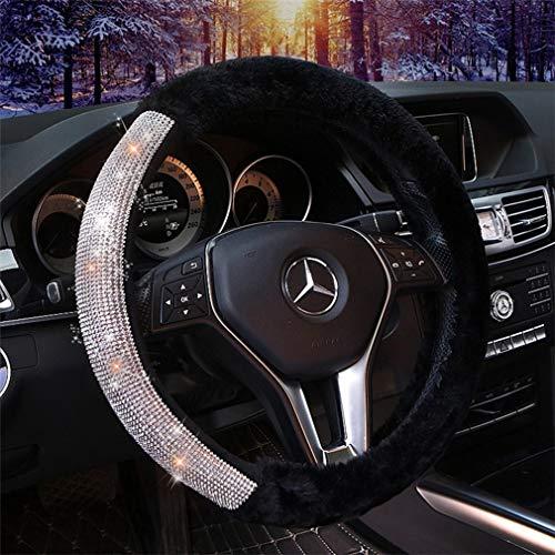Copricerchi inverno Car Steering caldo for le donne, cristallo di Bling Bling Auto Car Styling Arredamento, Interno di accessori universali 15 pollici Cuscino volante Protector ( Color : Nero )