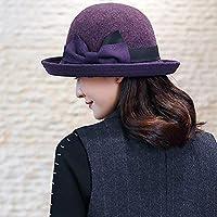 Sombrero de Mujer de Invierno Mezcla de Lana Pescador Sombrero Moda Curling Bow Basin Hat Sombrero de Mujer (4 Colores) (Color : B)