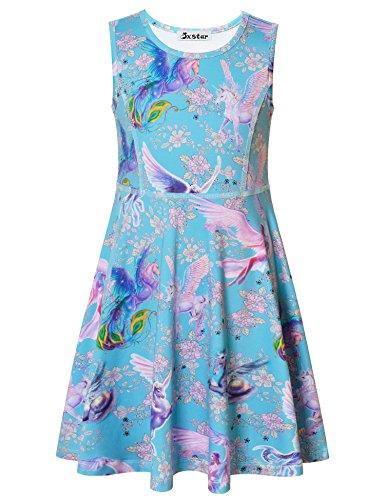 Jxstar Mädchen A-Linie Kleid 13 Jahre, A-Linie, blau, JXGDSAM70720BLU-160 (Sleeveless Blue T-shirt Performance)