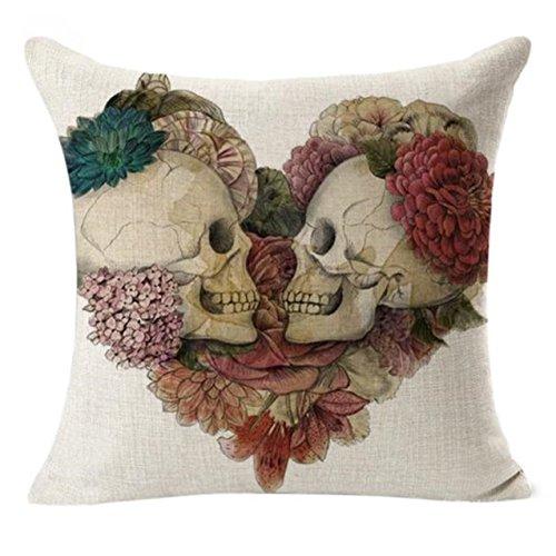 LHWY Leinen dekorative Kissen Abdeckungen Vintage Skull Throw Pillow Cases für Sofa (Dekorative Kissen-abdeckung Brown)