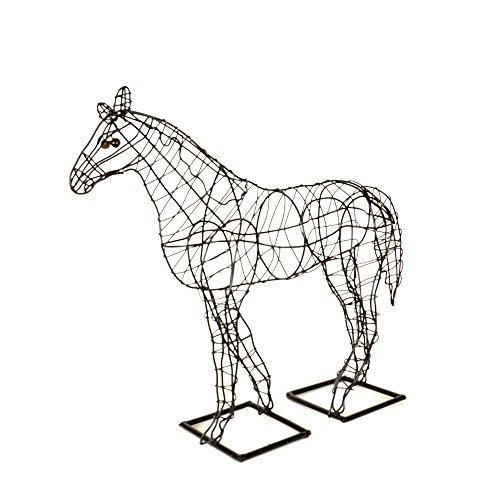 Garten-Figur Pferd Drahtgestell schwarz 43cm hoch